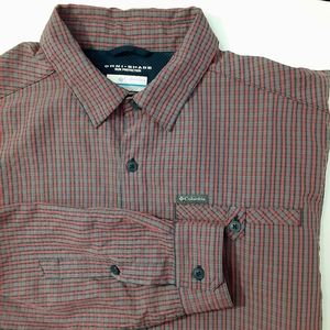 Columbia Omni Shade Long Sleeve Red Blue Plaid Med